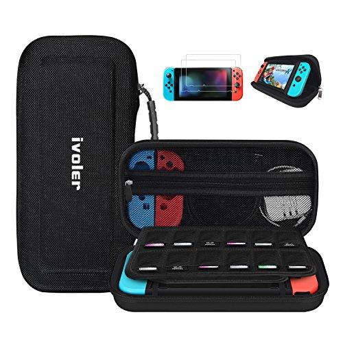 Nintendo Switch ケース+2枚 ガラスフィルム iVoler ニンテンドースイッチ ケース スタンド機能付き ハンドストラップ付き 12個カート/ケーブル/イヤホンなど小物収納 バッグ 防塵 防水 耐衝撃 保護カバー