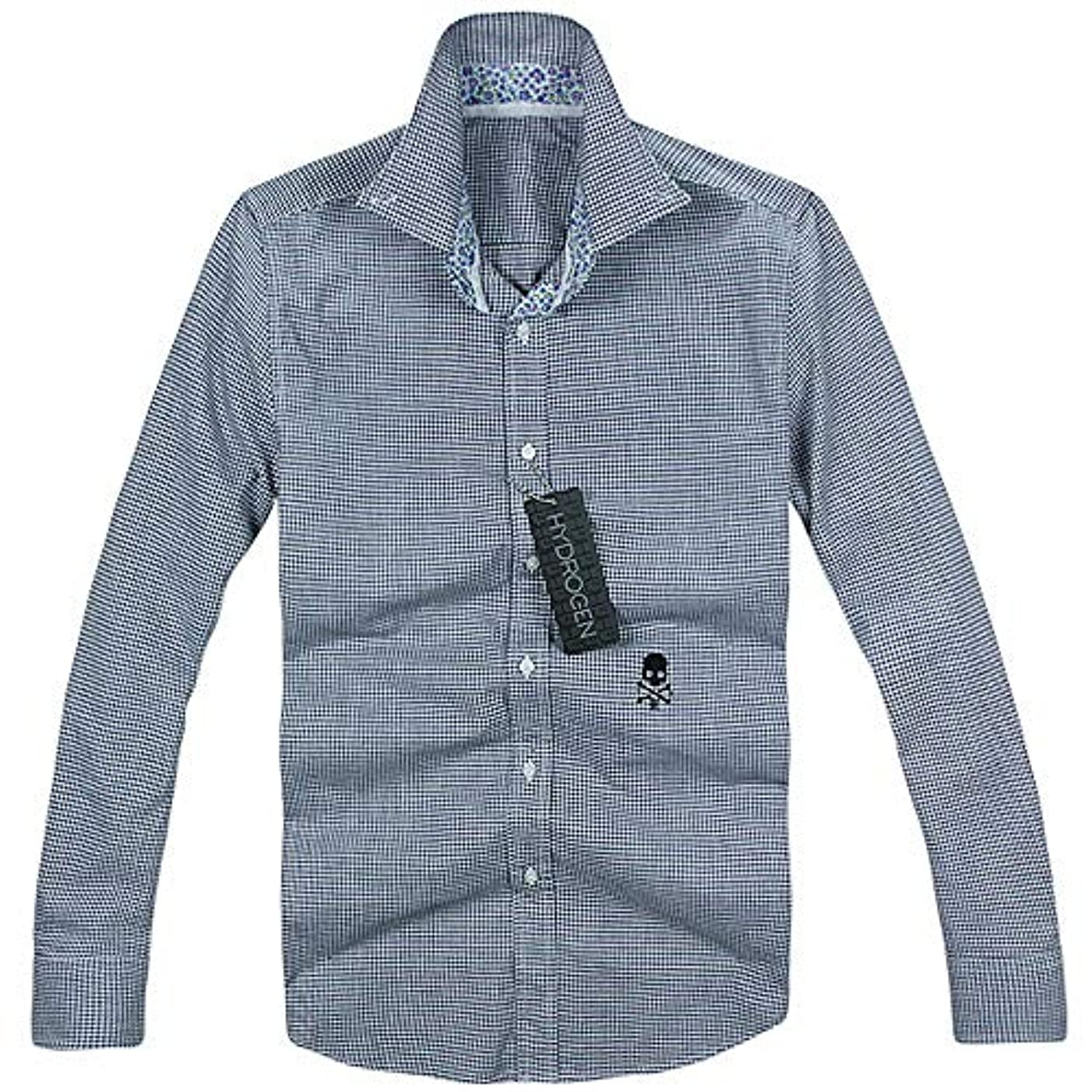 格納価値酸っぱい長袖 シャツ 刺繍 メンズ コットン 綿 100% ベストセラー プリント HYDROGEN 7357 Navy S [並行輸入品]