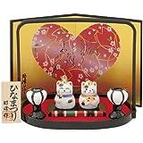豆猫雛 白磁(盆のり) [男3.3cm 女2.9cm] 桃の節句 雛祭り 置物 縁起物 雛人形