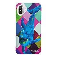iPhoneXS iPhoneケース (ハードケース) [ミラー付き/カード収納/高品質プリント] Nijisuke (ニジスケ) イルカ CollaBorn (iPhoneX対応)