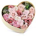 ハートフラワー形状ギフトボックス バラ型ソープフラワー 誕生日 母の日 記念日 先生の日 バレンタインデー 昇進 転居など最適としてのプレゼント
