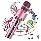 スマホ カラオケ マイク 高音質 カラオケ機器 無線ワイヤレス マイク  KTV Karaoke Mic 一人でカラオケ コンピュータ Android と iPhoneに対応 ポータブル マイク 日本語取扱説明書付き (ローズゴールド)