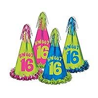 """クラブパックof 12Assorted Colors Fun and Festive Fringed Foil Sweet 16Party Hats 12.5"""""""