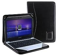 Navitech 本革レザー製ノートパソコンフォリオカバーケース黒 Medion Akoya S2013 Chromebook