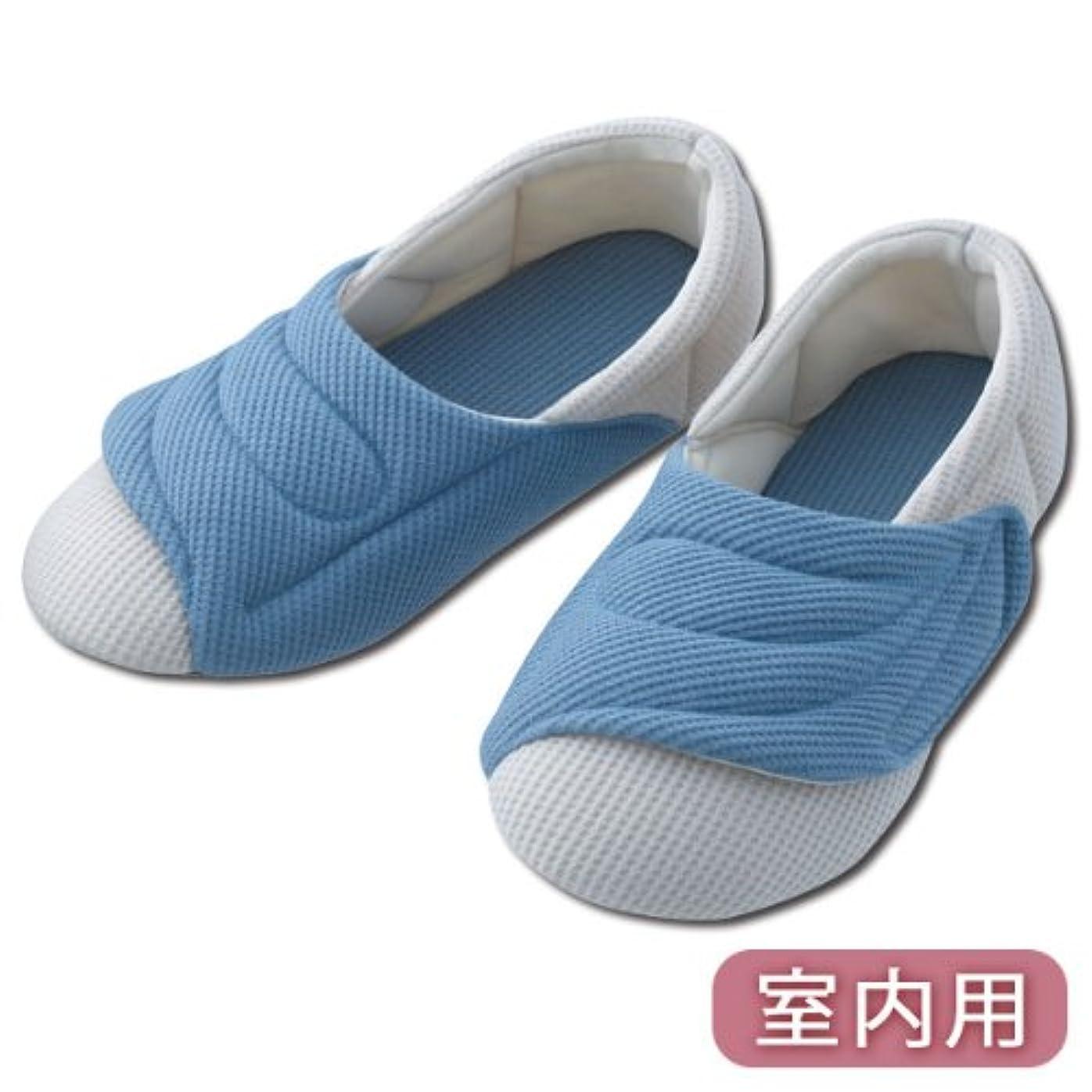 弾薬マエストロ貧困介護シューズ リハビリシューズ 介護靴 施設用 シューズ ワイドベルトワッフル2229(ブルー)(ブルーLL)