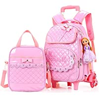 Hollwald Cute Fashion Lovely Trolley Bag Girls Wheeled Travel Rolling Backpack/Rucksack for Short Breaks Holidays Sleepovers and School Trips Two-piece set Luggage with Small Book Bags Waterproof for Boys Girls Kids Teenagers Students