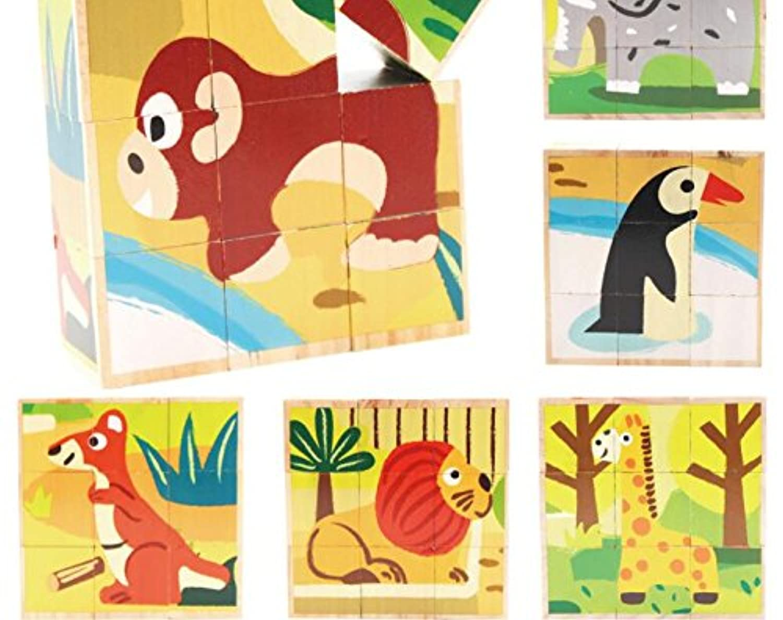HuaQingPiJu-JP 創造的なデザイン木製の漫画のパズルアーリーラーニング番号の形の色の動物のおもちゃキッズ(動物園)のための素晴らしいギフト