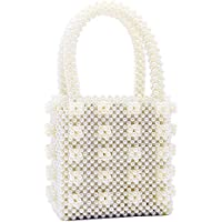 Miuco Womens Beaded Handbags Handmade Weave Crystal Pearl Tote Bags