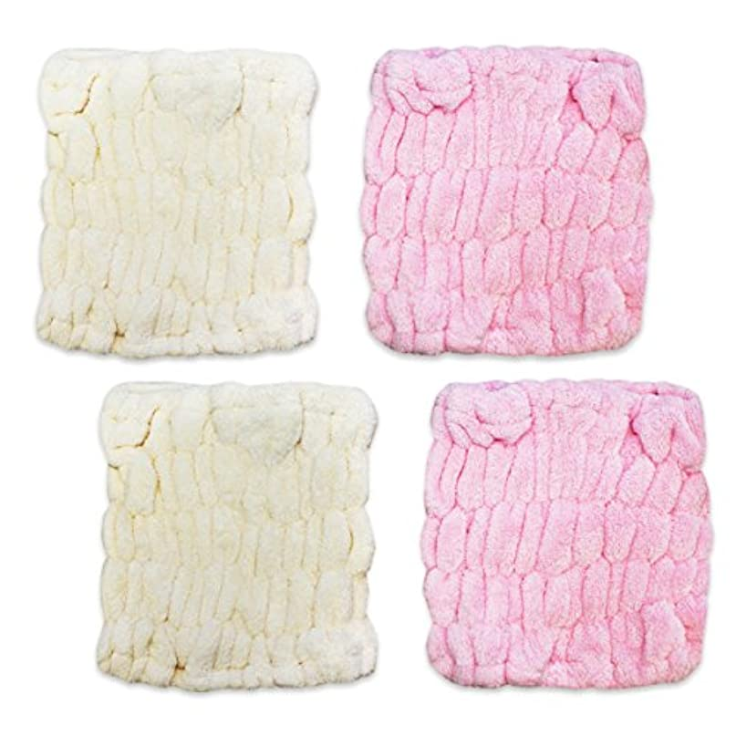 盗難動的服ふんわり 柔らか マイクロ ファイバー 吸水 ヘアターバン 2色 4枚組(ピンク&アイボリー)