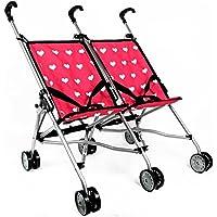 [ニューヨークドールコレクション]The New York Doll Collection Hearts Doll Twin Stroller for Kids Doll Stroller Folds for Storage Great Gift [並行輸入品]