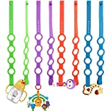 Rommeka Baby Toy Strap, Stretchable Silicone Toys Safety Straps Pacifier Clips Toddler Harness Straps for Strollers, Cribs, Shopping Trolley, Cars, Bags, Hanging Baskets- 8 Pack