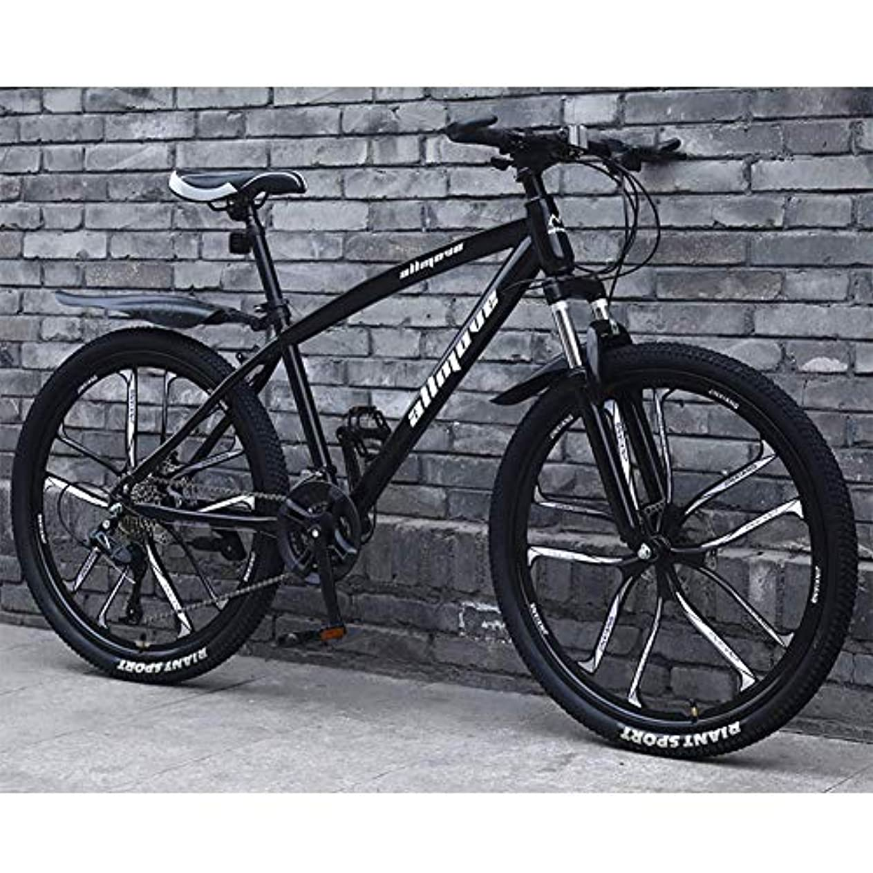 フットボール家庭教師ペチュランス26「マウンテンバイク自転車、21スピード軽量炭素鋼フレームマウンテンバイクダブルディスクブレーキ合金ホイール若い男性と女性のロードバイク、ブラック