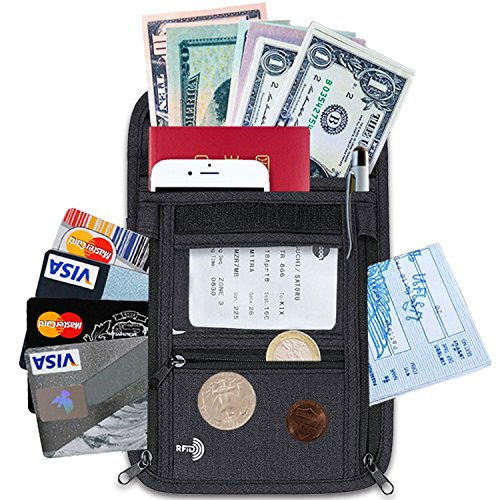 【高品質スキミング防止素材使用】HACONO TRAVEL パスポートケース 首下げ スキミング防止 【メーカー1年保証】 防水 トラベルケース トラベル 旅行 首掛け 首かけ KR001TP