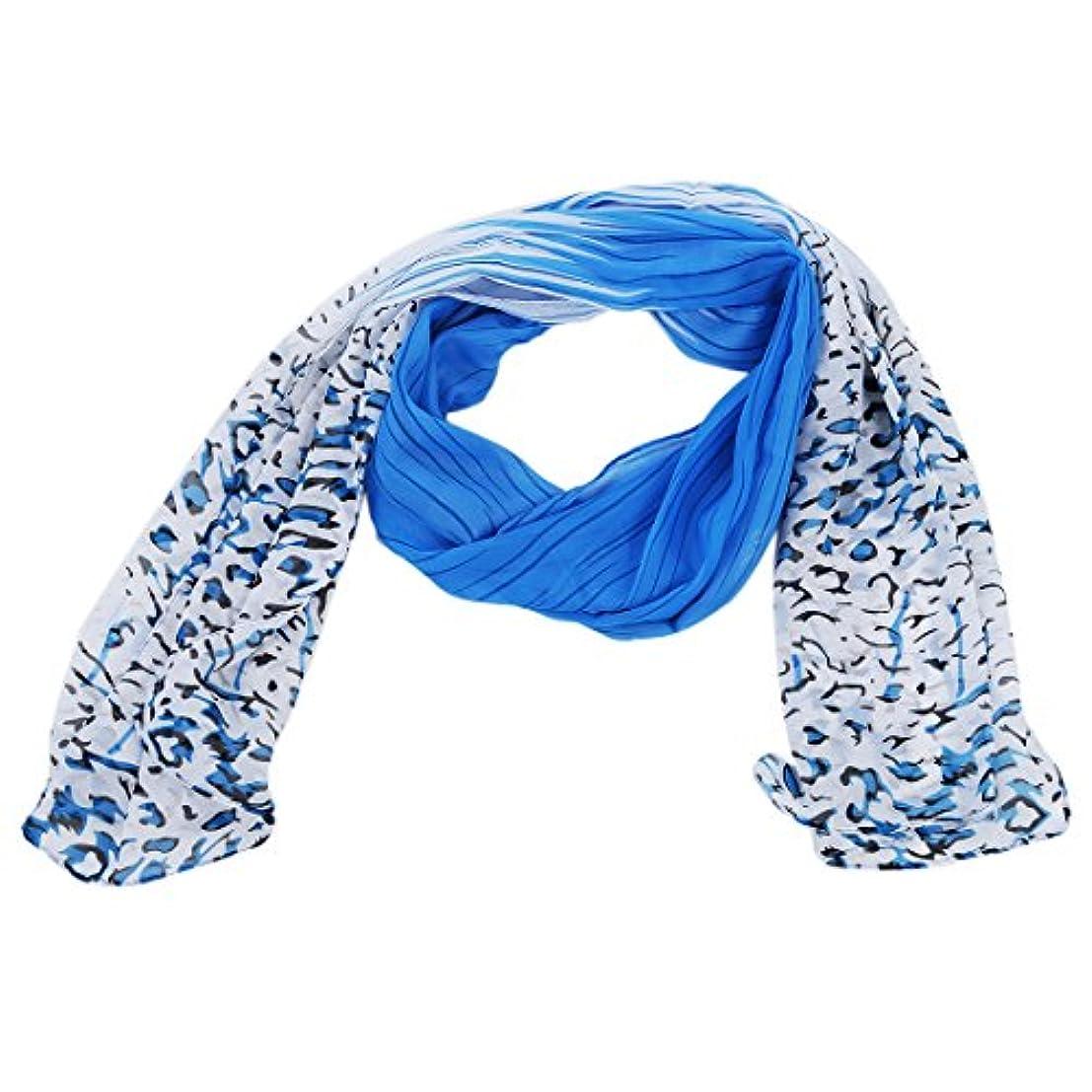 噴出する顧問保有者SODIAL(R)女性 ファッション ヒョウ柄 カラフル ショールスカーフラップ(ブルー)