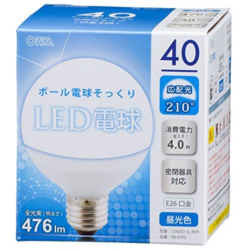 ボール電球形 E26 40形相当 昼光色 4W 476lm 広配光 107mm OHM 密閉器具対応 LDG4D-G AH9 06-0292