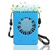 Iontek 携帯扇風機 ミニ 携帯ファン 首掛け/手持ち / 卓上ファン USB給電/充電電池 風量3段階調節 強力 省エネ 小型 (ブルー)