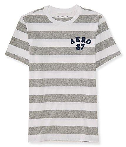 (エアロポステール)AEROPOSTALE 半袖Tシャツ Aero 87 Stripe Graphic T ライトグレー Light Heather Grey (M) [並行輸入品]