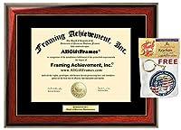 木製度フレーム証明書フレームサテンマットリッチマホガニーゴールドアクセントPlaque College大学認定ライセンスホルダー卒業ギフト Diploma Size - Up to 14 x 17 ゴールド FA1ES-StMaGd-14x17