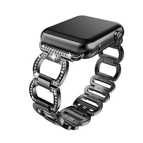 2018新しいapple watch クォーツバンド ファッションapple watch水晶バンド Apple watch series1 series 2 Band (42mm, 黒)