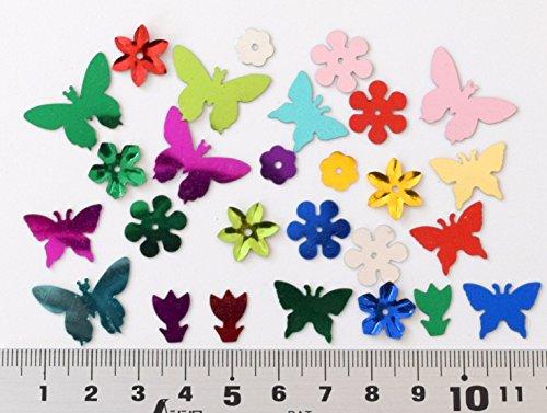 usausaのお店 【アウトレット商品】カラフルスパンコール ミックス 花形・ちょうちょ/Flower,Butterfly (約8mm~22mm) 3000枚セット /ゴールド・シルバー・レッド・グリーン・ブルー・ピンク・パープル他 (B420)