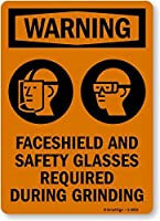 SmartSign Warning: Faceshield Required During Grinding with Graphic Plastic Sign 14 x 10 [並行輸入品]