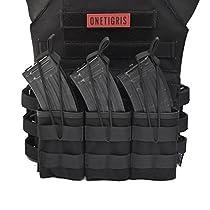 OneTigris トリプルマガジンポーチ 3連オープン M4 / M16 AK AR モール対応 チェストリグ取り付け可能 サバゲー ブラック