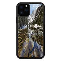 iPhone 11 Pro Max 用 強化ガラスケース クリア 薄型 耐衝撃 黒 カバーケース 景観 西アメリカ・リバー・スノープリントのマウンテン・パークでのドリーム・ミラーリング・レイク グリーンブラウンブルー iPhone 11 Pro 2019用 iPhone11 Proケース用