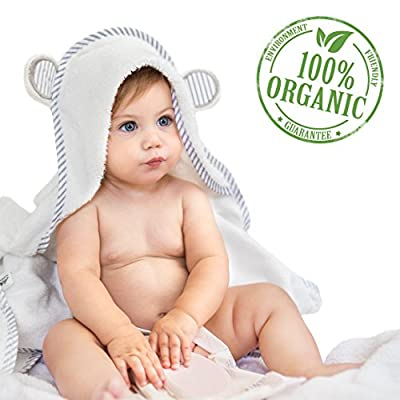 Organic Bamboo Hooded Baby Towel – Soft, Hooded Bath Towels with Ears for Babies, Toddlers – Hypoallergenic, Large Baby Towel Perfect Baby Shower Gift for Boys and Girls by San Francisco Baby