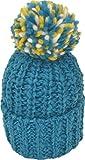 [シュノン] ShunoN 日本製 ミックス ボンボン ニット帽 ウール100% 14色 キッズ サイズ 12.ブルーxイエローK
