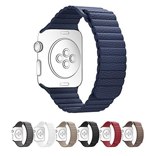 Apple Watch バンド レザーループ morningsun XG シンプル風 フル・マグネット式 交換用 カーキ グレー ブラワン 7色選べる(42mm、ブルー)