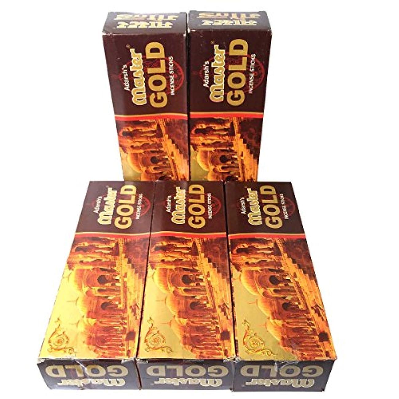 素晴らしい養う戻すマスターゴールド香スティック 5BOX(30箱)/ADARSH AROMATICS  MASTER GOLD/ インド香 / 送料無料 [並行輸入品]