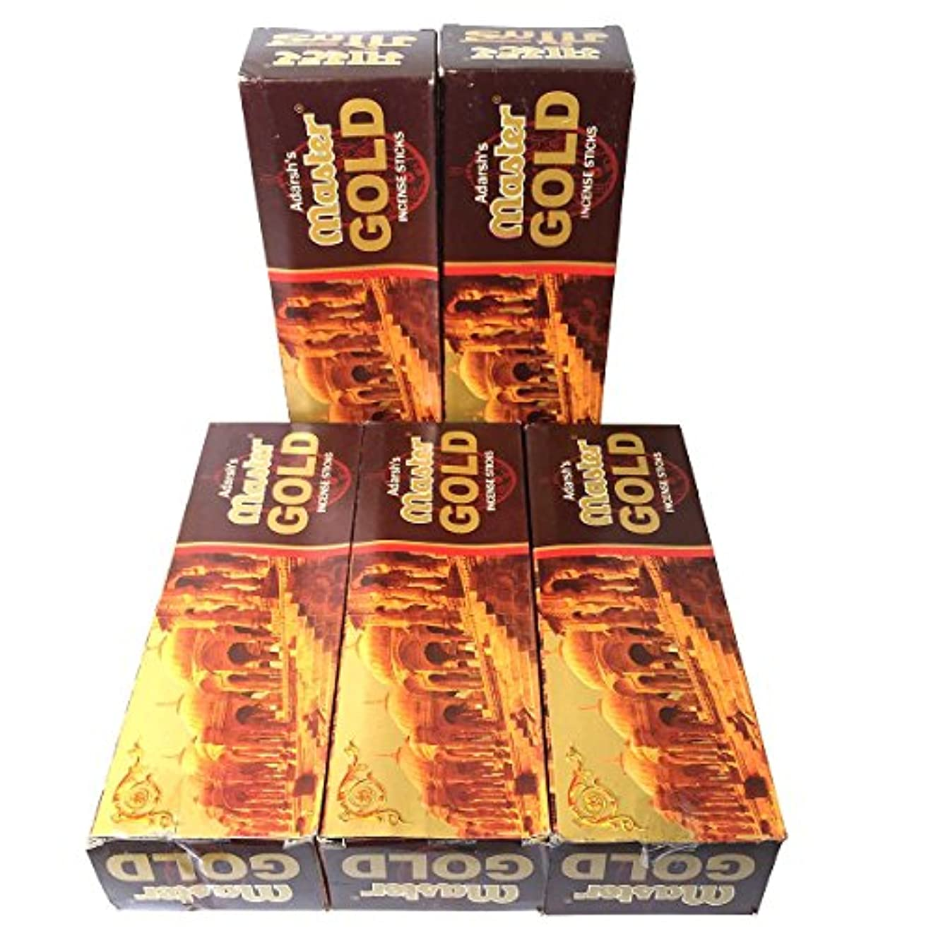 誰も同情的バスルームマスターゴールド香スティック 5BOX(30箱)/ADARSH AROMATICS  MASTER GOLD/ インド香 / 送料無料 [並行輸入品]