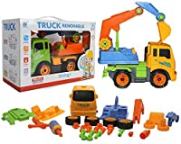 Take A Part Excavator 2-toys-in-1 DIY Construction Truck Toy Tevelo Stem Fun Educational Engineering Learning Tools Pretend Play Set Best Gift for Kids Ages 3 & Up 【You&Me】 [並行輸入品]