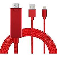 iPhone テレビ 接続ケーブル ライトニング HDMI 変換 アダプター iPhone画面をテレビに映す 最新版 設定不要 放送安定 音声同期出力 アイフォン HDMI 変換ケーブル  iPhone iPad ipod 対応 (赤)
