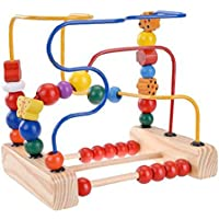 First Bead Maze木製赤ちゃん用幼児用Manipulativeおもちゃローラーコースター円教育開発ゲームfor Toddlers Girls Boys