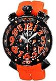 [ガガミラノ]GaGa MILANO 腕時計 クロノ48mm ブラック文字盤 ステンレス(BKPVD)ケース ラバーベルト 100M防水 クロノグラフ デイト 6054.3-ORG RUBBER メンズ 【並行輸入品】