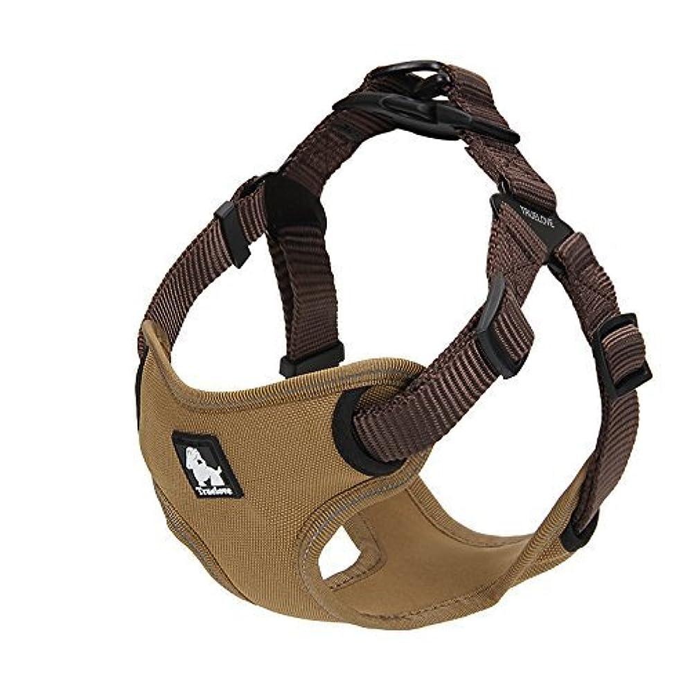 コントロール方程式蛇行cocomall 犬用ハーネス 犬用胴輪  ドッグ ペット用品 ハーネスリード  3M反射材料 訓練 ナイロン製  小型犬、中型犬、大型犬に向け 通気性 調節可能 (L, ブラウン)