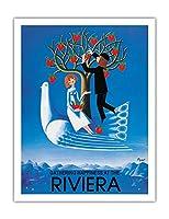 リヴィエラの幸福をつかみます - フランス語イタリア語リヴィエラ - ビンテージな広告ポスター によって作成された レイモン・ペイネ c.1990 - アートポスター - 51cm x 66cm