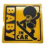 BABY IN CAR 赤ちゃん 乗車中 ( 12cm マグネット ステッカー スノーボーダー )