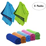 "Superlife Coco 40""x12"" Cooling Towel (5 Packs) Chilly Towel Cooling Towels for Neck Workout Towel, for Sports, Workout, Fitness, Yoga, Camping"