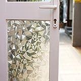 (45cm . x 150cm .) - Fancy-fix Privacy Window Film Non-adhesive Static Decorative Film Heat Control Window Clings Anti UV17.18cm by 150cm