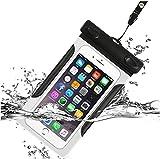 DmTown 完全防水 ケース 透明 スマホ 防水ケース 海 お風呂 旅行 水中撮影 等必要 ネックストラップ & アームバンド 付き 6インチ以下全機種対応 iPhone と Android など対応 (ブラック)