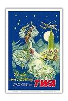 スペイン - 美と調和 - TWAでスペインに飛ぶ - ビンテージな航空会社のポスター によって作成された ペール・クラペラ c.1950s - アートポスター - 31cm x 46cm