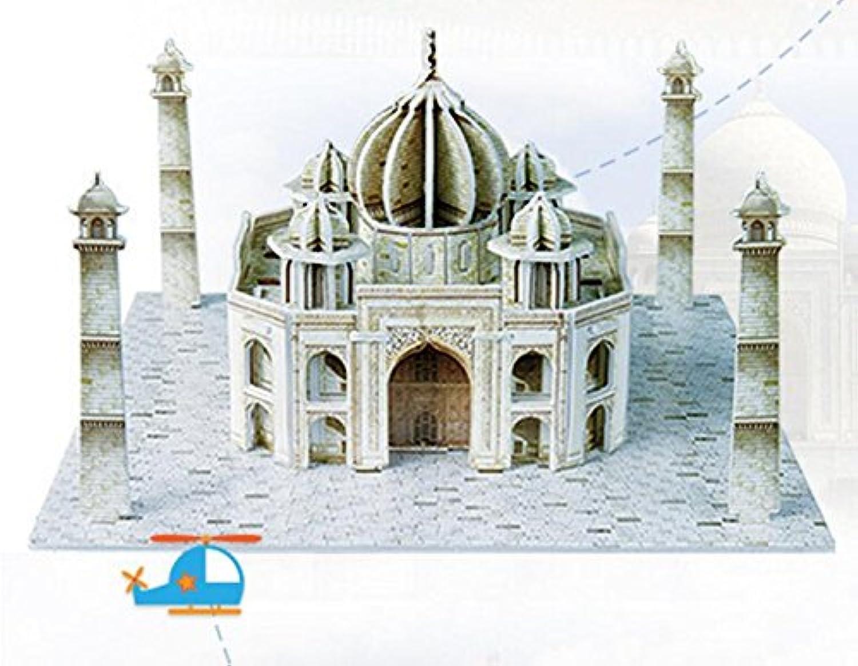 HuaQingPiJu-JP 創造的な教育3Dパズルアーリーラーニング建設子供のためのおもちゃのファンタスティックギフト(Taj Mahal)