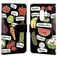 Galaxy S9+ (SC-03K・SCV39) ケース 手帳型 カードタイプ [オーガニック・ブラック] ベジタブル キャラクター ギャラクシー エスナイン プラス スマホケース 携帯カバー [FFANY] organic-190@02c