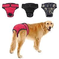 犬 おむつカバー, PETBABA 犬用 サニタリーパンツ 生理用品 雌犬/中大型犬/老犬用 犬の発情期/介護用 マナーパンツ 無地 3枚セット (XL, Aセット-3pcs)