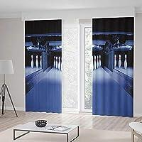 ベッドルームカーテン ボーリングパーティーデコレーション リビングルーム用 グランジコンポジション スターフィギュアカラー スプラッシュシューズピン 236Wx106L Inches CL401_10_K600xG270_064225