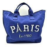 (Kealoha Bag)キャンバスバッグ トートバッグ マザーバッグ エコバッグ 『PARIS』ロゴ 大容量バッグ BAG 帆布 (ネイビー)