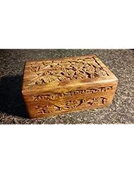 4 x 6 Carved Woodenボックス花柄デザインタロットまたはIncenseボックス/ハーブストレージ~インド