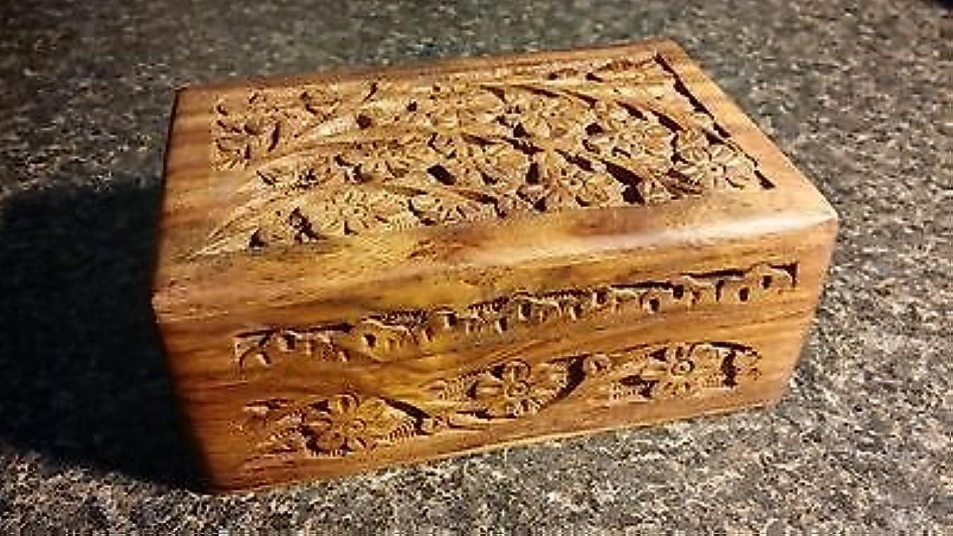 メキシコインテリアフォージ4 x 6 Carved Woodenボックス花柄デザインタロットまたはIncenseボックス/ハーブストレージ~インド